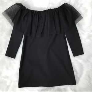 Zara black off the shoulder mesh ruffle dress